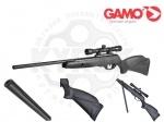 Gamo Black Cat 1400 с прицелом 4х32 пневматическая винтовка - Пневматическая винтовка Gamo Black Cat 1400 с прицелом 4х32 - это разработка класса Магнум, относящаяся к пружинно-поршневой пневматике, новинка испанской компании Gamo. Дульная энергия 29 ДЖ. Скорость полета пули – до 420 м/с (легкой пулей!)
