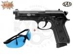 Акция! Пистолет Beretta SAS PT99 + очки - Акция! Пистолет Beretta SAS PT99 -  копия боевого итальянского пистолета Beretta 92F с функцией Blowback. Начальная скорость, м/с: 100. Очки защитные STRELOK STR-48/3 - оснащены противоударными поликарбонатными линзами с боковой защитой.