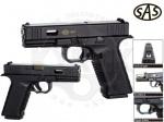 Пистолет SAS Glock 17 - Пистолет SAS Glock 17 - пневматическая копия легендарного австрийского пистолета Glock 17.  Рамка пистолета выполнена из прочного пластика, кожух затвора — металл. Начальная скорость, м/с: 110