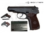Пистолет Borner ПМ49 - Пневматический пистолет Borner ПМ49  произведен американской фирмой Borner. Пистолет выполнен из металла, корпус цельный, затвор неподвижный. Коричневая накладка рукоятки из пластика. УСМ двойного действия. Начальная скорость, м/с: 128