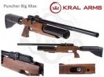 Винтовка РСР Kral Bigmax - Винтовка РСР Kral Bigmax - пневматика с предварительной накачкой (PCP). Особенностью данной винтовки является наличие двух резервуаров, общий объём 850, что обеспечивает до 150 выстрелов от одной заправки. Начальная скорость полета пули 380 м/с.