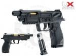 Пистолет Umarex UX SA10 - Пистолет UX SA10 - универсальный пневмат, стреляет как свинцовыми пулями. так и шариками ВВ, 8-ми зарядный магазин барабанного типа. Начальная скорость полета пули 130 м/с. Пистолет с системой Blowback.