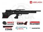 Винтовка РСР Aselkon MX7 - PCP винтовка Aselkon MX7 - выполнена по схеме булл-пап, что позволило сократить общую длину винтовки, но при этом оставить длину ствола. Ложе с регулируемым подщёчником, Встроенный баллон объёмом 320куб. см. максимальное давление в 200бар.