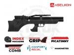 Винтовка РСР Aselkon MX7-S - PCP винтовка Aselkon MX7-S - укороченная версия модели МХ-7. Выполнена по схеме булл-пап, изменения коснулись длины винтовки, и длины ствола. Ложе с регулируемым подщёчником. Встроенный баллон объёмом 275куб. см. максимальное давление в 200бар.