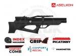 Винтовка РСР Aselkon MX10-S - PCP винтовка Aselkon MX10-S - укороченная версия. Выполнена по схеме булл-пап, изменения коснулись длины винтовки, и длины ствола. Ложе с регулируемым подщёчником. Резервуар объёмом 275куб. см. максимальное давление в 200бар. Начальная скорость 305 м/с.