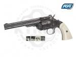 Револьвер ASG Schofield BB 6 - Револьвер ASG Schofield BB 6 - реалистичная копия знаменитого переламывающегося револьвера Smith & Wesson Model 3. Модель выполнена  с пластиковыми накладками, имитирующими слоновую кость и полированным металлическим корпусом. Скорость пули 128 м/с