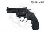 Револьвер флобера STALKER S 3 syntetic - Револьвер под патрон Флобера Stalker S 3 с пластиковой рукояткой черного цвета,«S» означает что барабан выполнен из легкосплавного металла (силумин). Короткий (7,6 см) ствол. Начальная скорость вылета пули м/с: 160